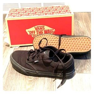 Black on black Atwood Vans canvas shoes sneakers